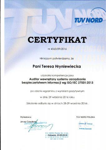 Certyfikat dla Teresy Hryniewickiej