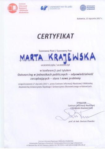 Certyfikat z konferencji dla Marty Krajewskiej